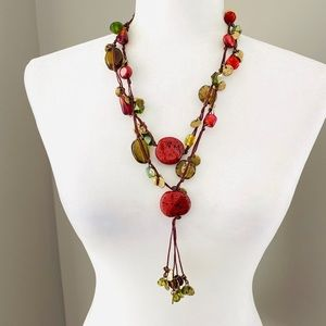 Chico's boho earth tones stone statement necklace